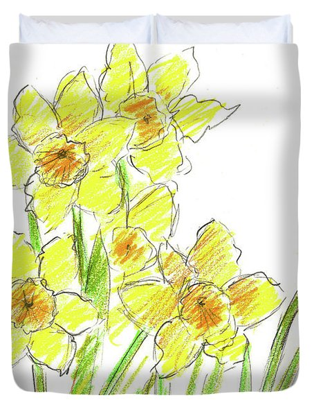 Duvet Cover featuring the painting Spring Daffodils by Cathie Richardson