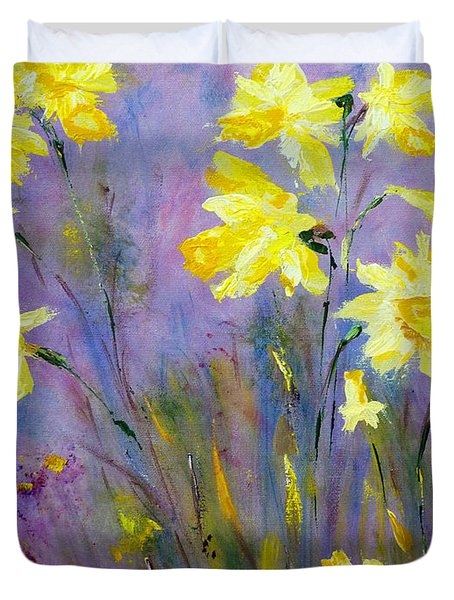Duvet Cover featuring the painting Spring Daffodils by Claire Bull