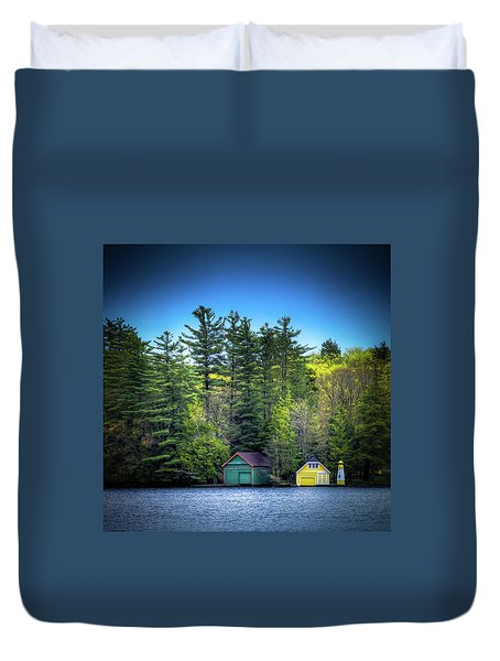 Spring Day At Old Forge Pond Duvet Cover by David Patterson