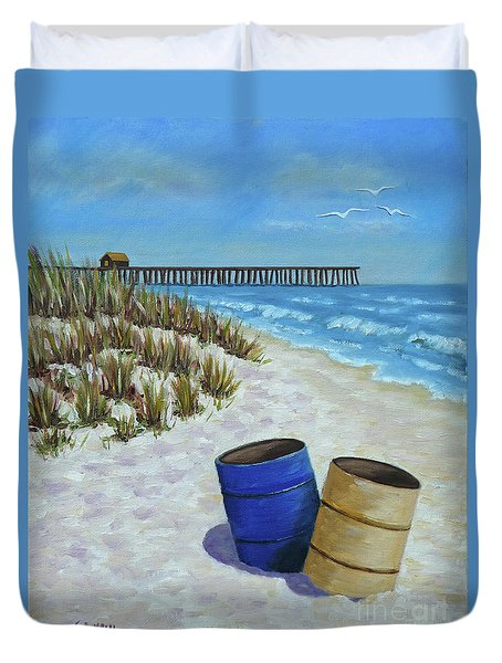 Spring Day On The Beach Duvet Cover