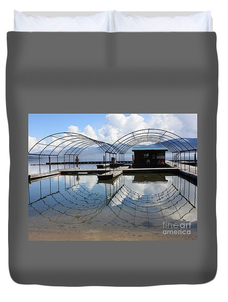 Spring Docks On Priest Lake Duvet Cover by Carol Groenen