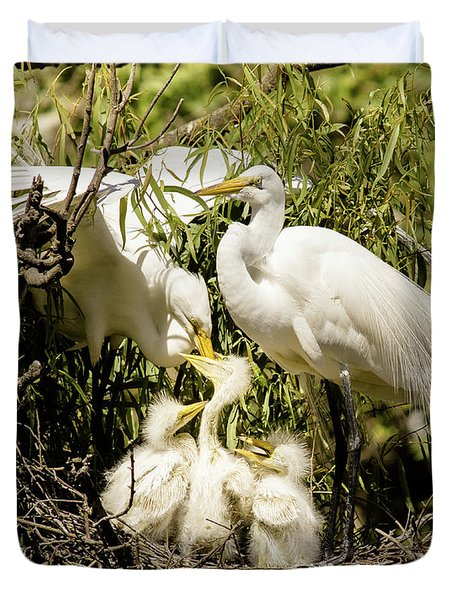 Duvet Cover featuring the photograph Spring Egret Chicks by Robert Frederick
