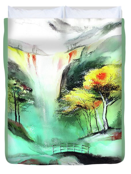 Duvet Cover featuring the painting Spring Fall by Anil Nene