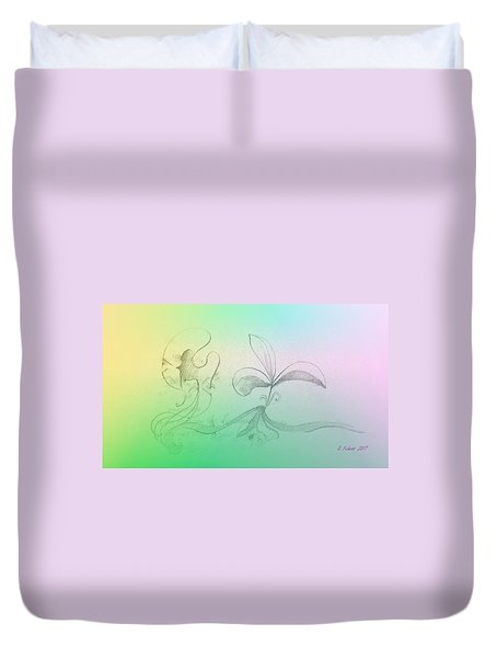 Duvet Cover featuring the mixed media Spring Feelings 1 by Denise Fulmer