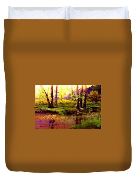 Spring Fields Along Sunlite Creek Duvet Cover by Joseph Barani