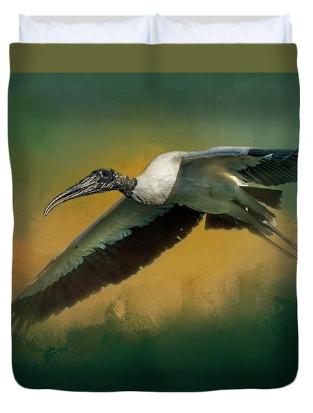 Duvet Cover featuring the photograph Spring Flight by Marvin Spates