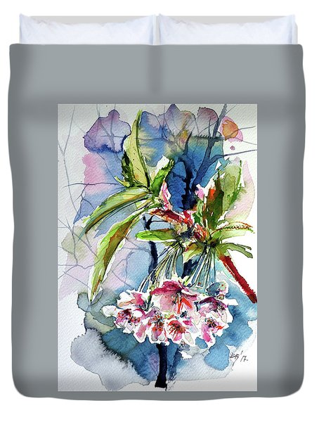 Duvet Cover featuring the painting Spring Flower by Kovacs Anna Brigitta