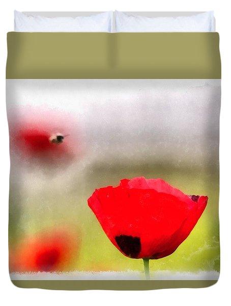 Spring Flowering Poppies Duvet Cover