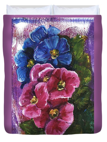 Duvet Cover featuring the painting Spring Flowers by Alga Washington