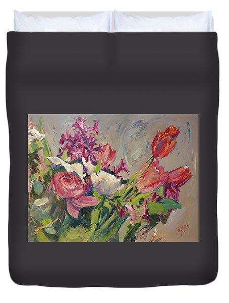 Spring Flowers Bouquet Duvet Cover