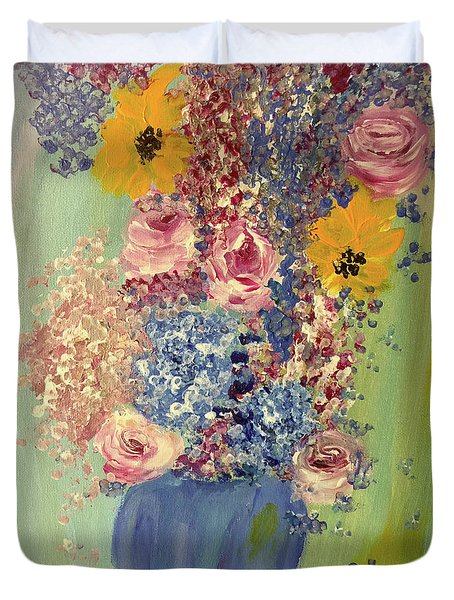 Spring Flowers In Vase Duvet Cover by Angela Holmes