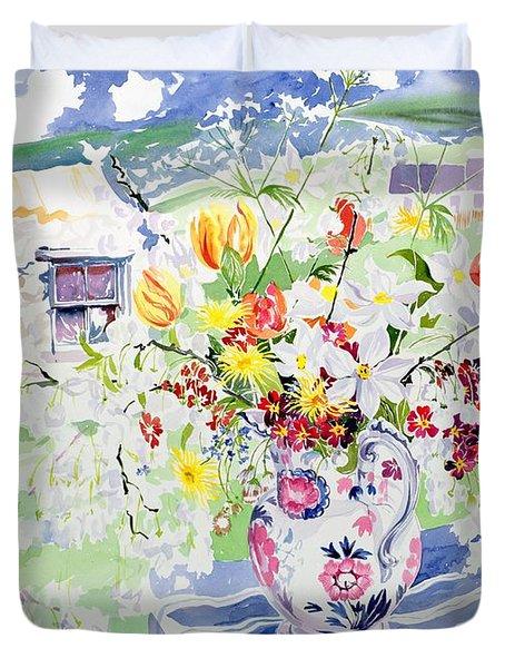 Spring Flowers On The Island Duvet Cover by Elizabeth Jane Lloyd