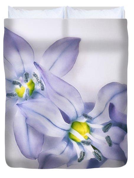 Spring Flowers On White Duvet Cover
