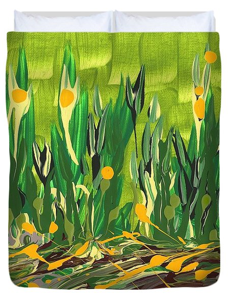 Duvet Cover featuring the painting Spring Garden by Holly Carmichael