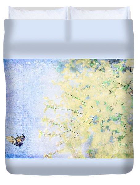 Duvet Cover featuring the mixed media Spring Glory by Kim Henderson