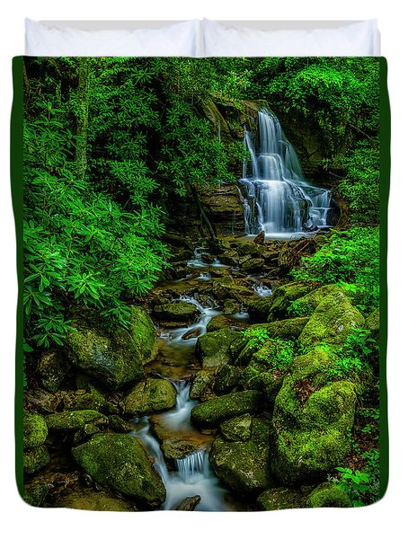 Spring Green Waterfall And Rhododendron Duvet Cover