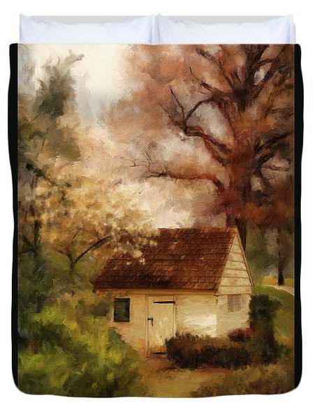 Duvet Cover featuring the digital art Spring House In The Spring by Lois Bryan
