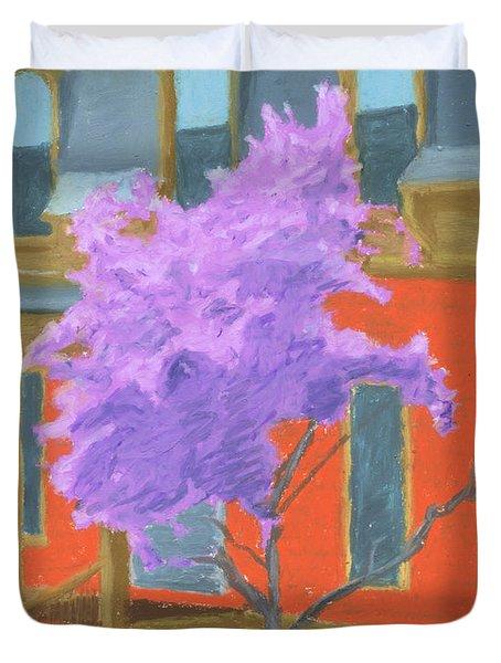 Spring In Pink And Orange Duvet Cover