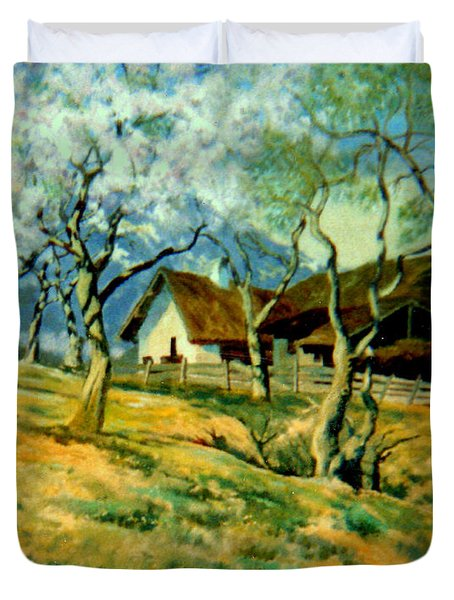 Duvet Cover featuring the painting Spring In Poland by Henryk Gorecki