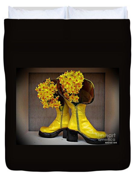Spring In Yellow Boots Duvet Cover