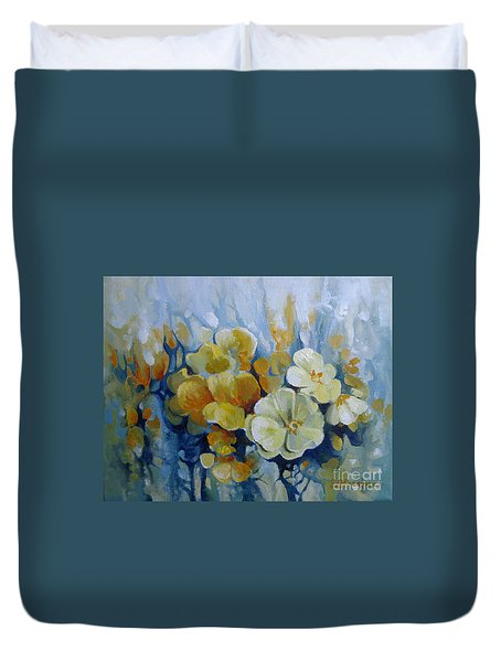Duvet Cover featuring the painting Spring Inflorescence by Elena Oleniuc