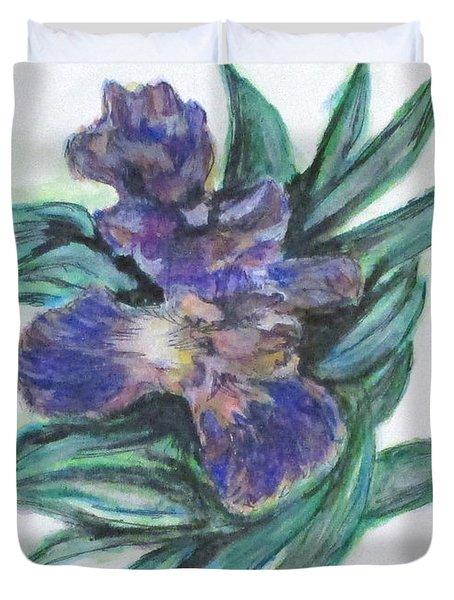 Spring Iris Bloom Duvet Cover by Clyde J Kell