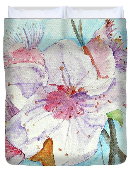 Duvet Cover featuring the painting Spring by Jasna Dragun