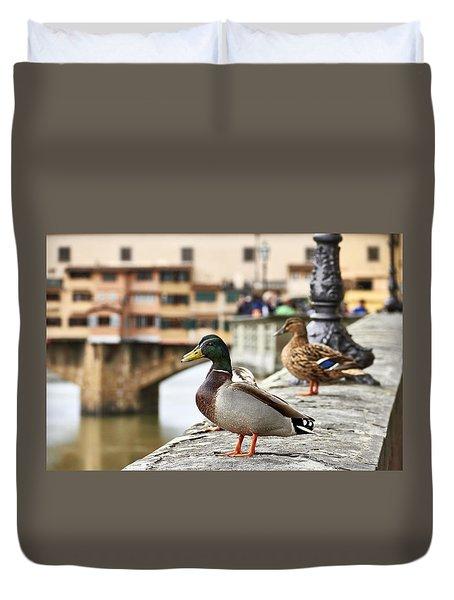 Spring Love Ducks Duvet Cover