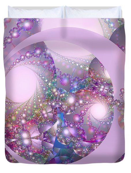 Spring Moon Bubble Fractal Duvet Cover by Judi Suni Hall