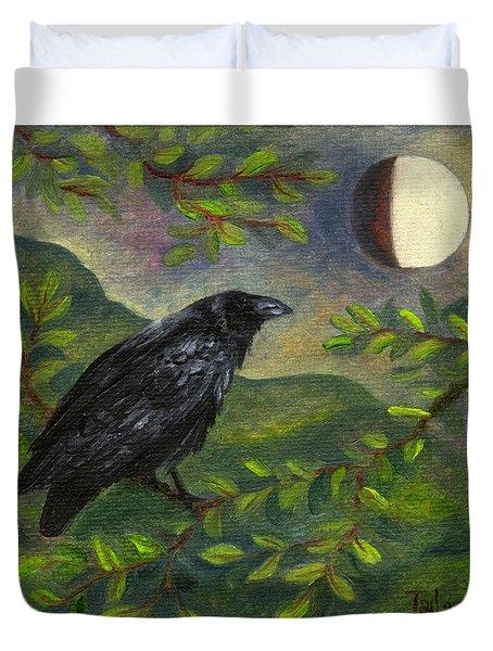 Spring Moon Raven Duvet Cover