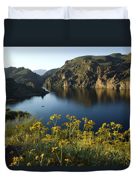Spring Morning At The Lake Duvet Cover by Sue Cullumber