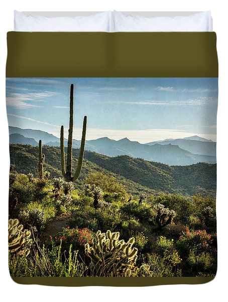 Duvet Cover featuring the photograph Spring Morning In The Sonoran  by Saija Lehtonen