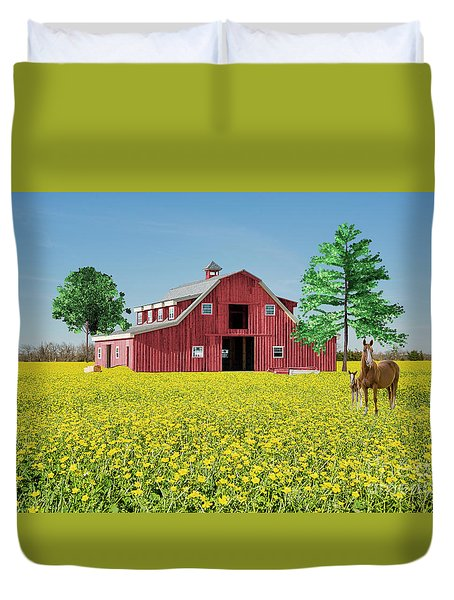 Spring On The Farm Duvet Cover by Bonnie Barry