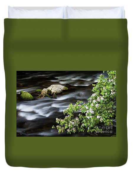 Duvet Cover featuring the photograph Spring On The Oconaluftee River - D009923 by Daniel Dempster