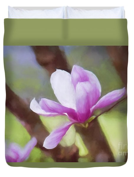 Spring Pink Saucer Magnolia Duvet Cover