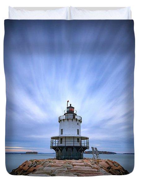 Spring Point Ledge Light Station Duvet Cover by Rick Berk