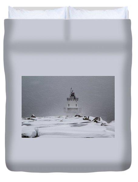 Spring Point Ledge Lighthouse Blizzard Duvet Cover