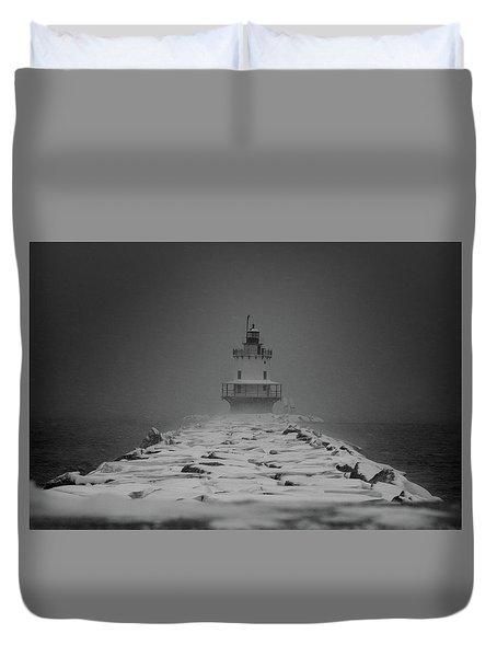 Spring Point Ledge Lighthouse Blizzard In Black N White Duvet Cover