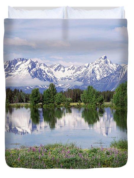 Spring Pond Grand Teton National Park Duvet Cover