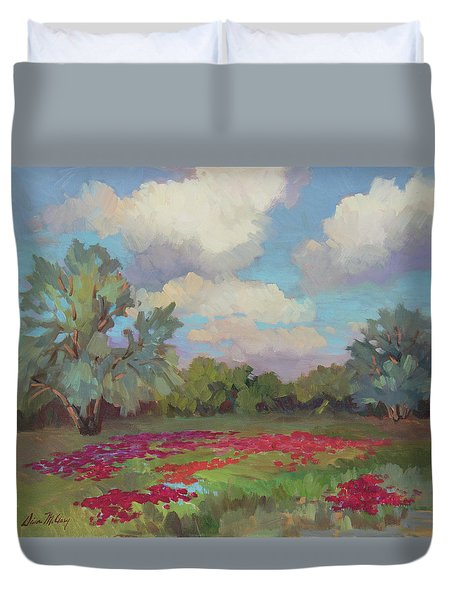 Duvet Cover featuring the painting Spring Poppies by Diane McClary