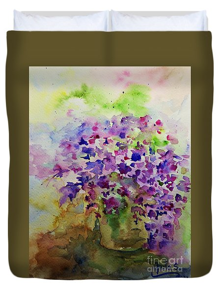 Spring Purple Flowers Watercolor Duvet Cover by AmaS Art