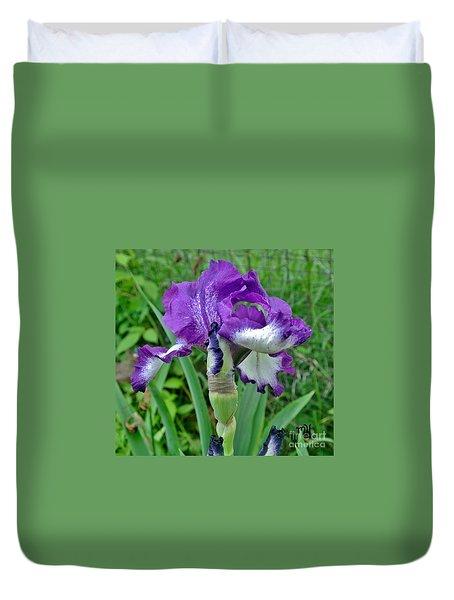 Duvet Cover featuring the photograph Spring Purple Iris by Marsha Heiken