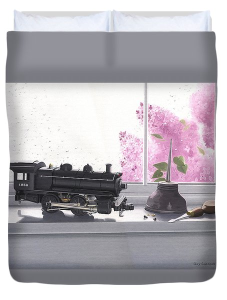 Duvet Cover featuring the painting Spring Rain  Electric Train by Gary Giacomelli