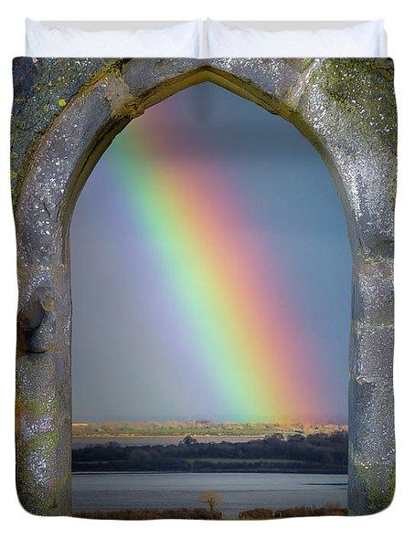 Duvet Cover featuring the photograph Spring Rainbow Over Ireland's Shannon Estuary by James Truett