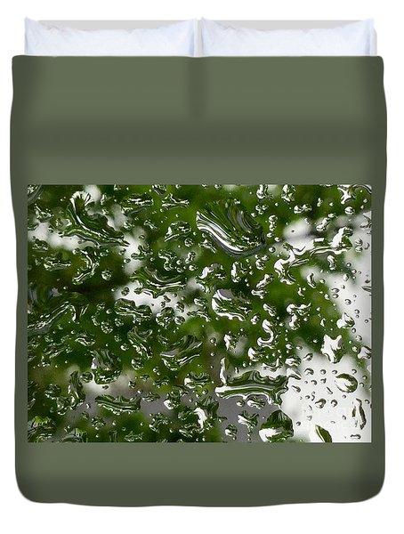Spring Raindrops  On The Windowpane Duvet Cover by Patricia E Sundik