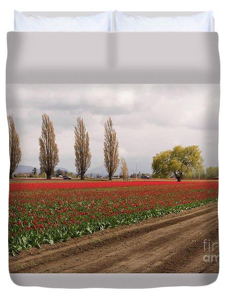 Spring Red Tulip Field Landscape Art Prints Duvet Cover