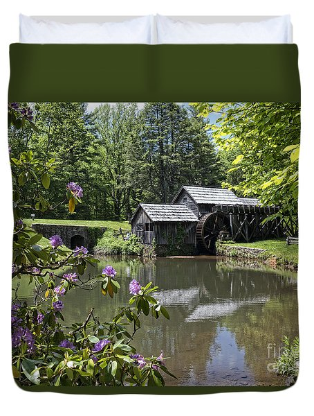 Spring Reflections Of An Ancient Mill Duvet Cover