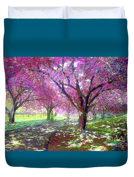 Spring Rhapsody, Happiness And Cherry Blossom Trees Duvet Cover