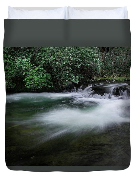 Duvet Cover featuring the photograph Spring River by Mike Eingle