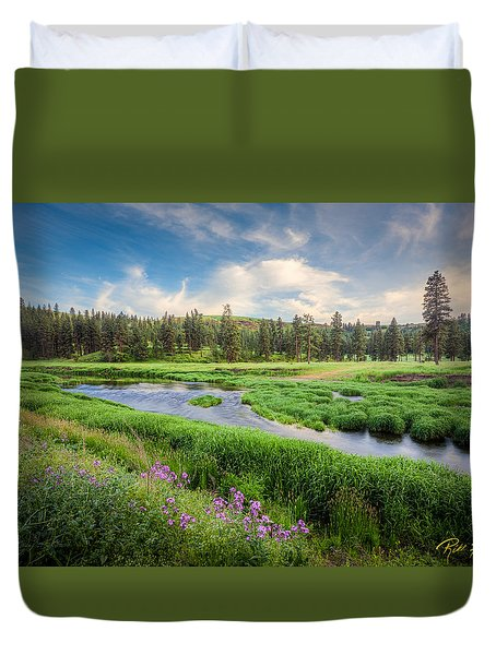 Duvet Cover featuring the photograph Spring River Valley by Rikk Flohr